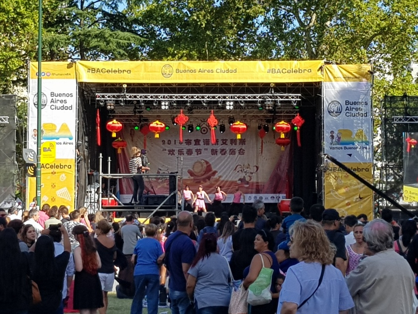 Chinese teen pop group on stage at the celebrations in Buenos Aires